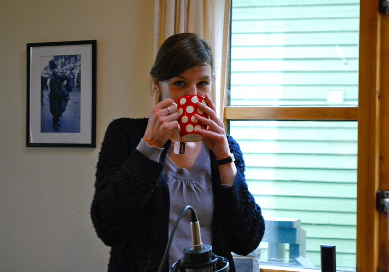 Laura drinking a cup of tea. - © 2010 Sam Carroll