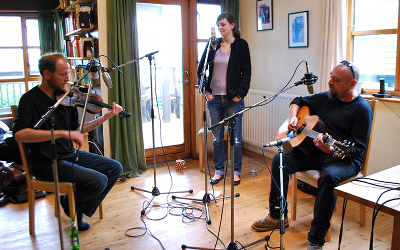 Ben, Laura and Tab recording in the dining room. - © 2010 Sam Carroll